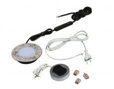 Компплект из 1-го LED свет-ка Polus-Art-1 220V врезной/никель/тепл.свет/выкл/сет.шнур