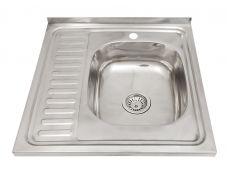Мойка кухонная накладная 6060R, 600х600х180, 0,8мм, выпуск 3 1/2, нержавейка, полированная, в комплекте, чаша справа
