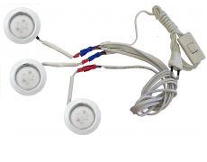 Комплект 3 LED врезных светильников FT-9228 220V, (сетевой шнур с выкл. в упаковке), теплый 3000K, хром