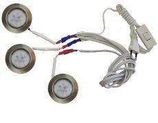 Комплект 3 LED врезных светильников FT-9228 220V, (сетевой шнур с выкл. в упаковке), теплый 3000K, бронза