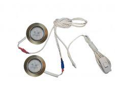 Комплект 2 LED врезных светильников FT-9228 220V, (сетевой шнур с выкл. в упаковке), теплый 3000K, бронза