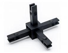 CADRO каркасная система, Угловое соединение 4х-стороннее 3D, черный матовый