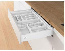 Лоток для столовых приборов OrgaTray 440 для ящиков InnoTech Atira модуль 600 мм, Гл370-440xШ501-600, пластик, цвет белый , Art.9194955, Hettich