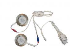 Комплект 2 LED врезных светильников FT-9228 220V, (сетевой шнур с выкл. в упаковке), теплый 3000K, сатин никель