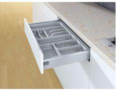 Лоток для столовых приборов OrgaTray 440 для ящиков InnoTech Atira модуль 300 мм, Гл370-440xШ201-250, пластик, серебристый, Art.9194918, Hettich