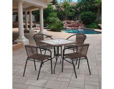 Комплект мебели для летнего кафе Асоль-3 TLH-037BR2/070SR-70х70 R-05 Brown (4+1