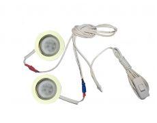 Комплект 2 LED врезных светильников FT-9228 220V, (сетевой шнур с выкл. в упаковке), теплый 3000K, золото