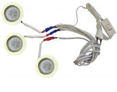 Комплект 3 LED врезных светильников FT-9228 220V, (сетевой шнур с выкл. в упаковке), теплый 3000K, золото