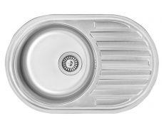 Мойка кухонная врезная T7750, 770x500x180, 0,8мм, выпуск 3 1/2, нержавейка, сатин, в комплекте, Roska