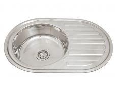 Мойка кухонная врезная 7750BL, 770x500x180, 0,8мм, выпуск 3 1/2, нержавейка, полированная, в комплекте