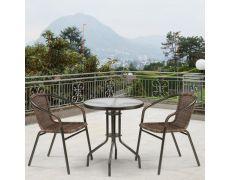 Комплект плетеной мебели из искусственного ротанга Асоль-1C TLH-037B-R3/TLH060-D60 Brown 2Pcs