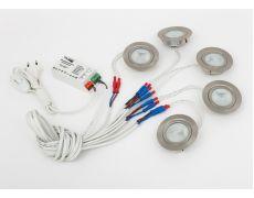 Комплект 5 врезных светильников галоген. FT9216 20W, мат. стекло (тр-р, сетевой шнур 1,8м c выкл. в упаковке), хром