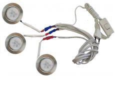 Комплект 3 LED врезных светильников FT-9228 220V, (сетевой шнур с выкл. в упаковке), теплый 3000K, сатин никель