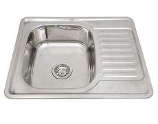 Мойка кухонная врезная 6550, 650x500x180, 0,8мм, выпуск 3 1/2, нержавейка, полированная, в комплекте