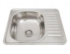 Мойка кухонная врезная 5848, 580x480x180, 0,8мм, выпуск 3 1/2, нержавейка, полированная, в комплекте