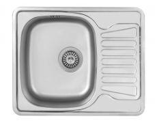 Мойка кухонная врезная 5848, 580x480x180, 0,8мм, выпуск 3 1/2, нержавейка, сатин, в комплекте, Roska