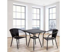 Обеденный комплект плетеной мебели из искусственного ротанга T282BNS/Y137C-W53 Brown 2Pcs