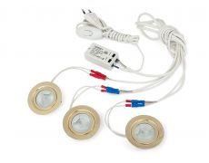 Комплект 3 врезных светильников галоген. FT9216 20W, мат. стекло (тр-р, сетевой шнур 1,8м c выкл. в упаковке), золото