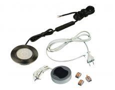 Компплект из 1-го LED свет-ка Polo 220V врезной/никель/нейтр.свет/выкл/сет.шнур