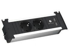 Модуль KAPSA (2 розетки Schuko 250В, 2 USB (5,2 В/2150 мA), отделка чёрная/алюминий