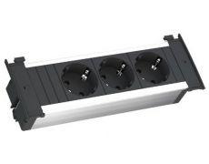 Модуль KAPSA (3 розетки Schuko 250В), отделка чёрная/алюминий