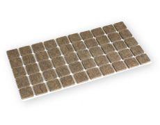 Подпятник самоклеящийся 20x20мм, фетр 3.5мм коричневый (лист 50 штук)