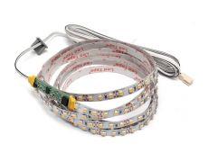 Комплект для профиля 1506: LED лента SMD3528, 120 LED/м, 9,6Вт/м, 12В, 840-960Лм./м 1000х8 мм, IP 20, 3500К (теплый белый) с сенсо