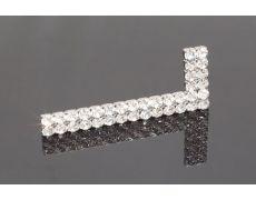 Накладка декоративная г-образная с кристаллами, правая, отделка никель + горный хрусталь