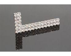 Накладка декоративная г-образная с кристаллами, левая, отделка никель + горный хрусталь
