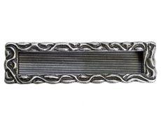 Ручка врезная 128мм, отделка старое серебро с блеском
