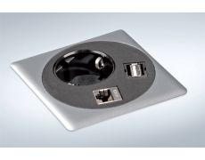 Встраиваемый блок Point (1 розетка 220В, 1xUSB, 1xRJ45), отделка сталь нержавеющая/чёрная