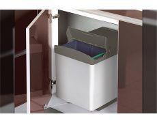 Ведро для мусора (2х16л) выдвижное, пластик серый
