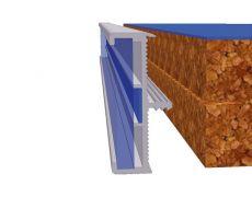 Профиль кромочный для столешниц 38мм, L=4300мм, отделка алюминий анодированный