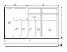 Ёмкость в базу 900, для столовых приборов, бук (из 2-х частей)